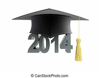 graduation cap 2014 on a white background