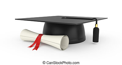 Graduation cap - 3d illustration of graduation cap with...