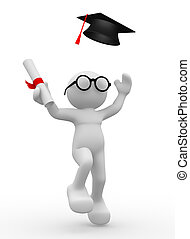 Graduation cap - 3d people - human character , person with...