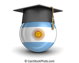 Graduation cap and Argentina flag. Image with clipping path