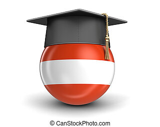 Graduation cap and Austrian flag. Image with clipping path