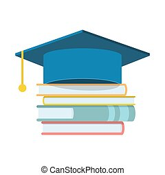 Graduation cap and book. Flat icon isolated on white background.