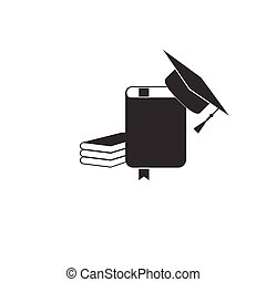 Graduation cap and book icon isolated. Flat design. Vector Illustration