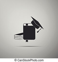 Graduation cap and book icon isolated on grey background. Flat design. Vector Illustration