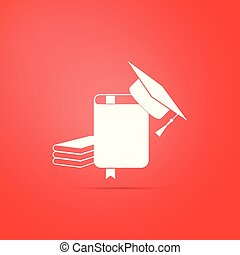 Graduation cap and book icon isolated on red background. Flat design. Vector Illustration