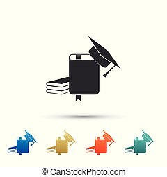 Graduation cap and book icon isolated on white background. Set elements in color icons. Vector Illustration