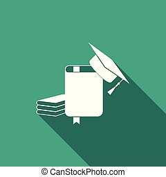 Graduation cap and book icon isolated with long shadow. Flat design. Vector Illustration