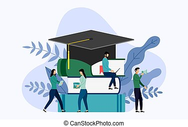 Graduation cap and book with human concepts, education vector illustration