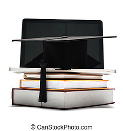 graduation cap and book with laptop