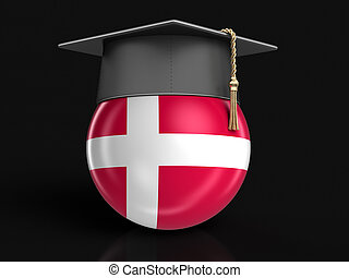 Graduation cap and Danish flag. Image with clipping path