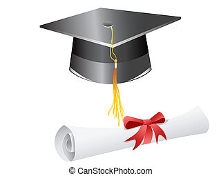 graduation cap and diploma - graduation cap diploma isolated...