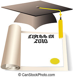 graduation cap and diploma copyspace for class of 2010 - A...