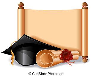 Graduation cap and diploma - Background with graduation cap,...