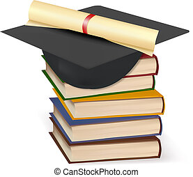 Graduation cap and diploma laying on stack of books. Vector....