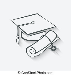 Graduation cap and diploma - vector illustration. eps 10