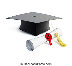 graduation cap and diploma - graduation cap diploma isolated...