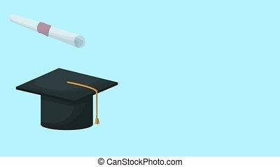 Graduation cap and diploma HD animation - Graduation cap and...