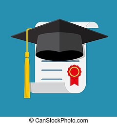 Graduation cap and diploma.