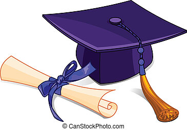 Illustration of graduation cap and diploma