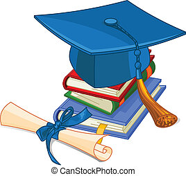 Graduation cap and diploma - Illustration of graduation cap...