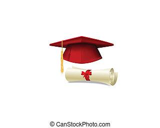 Graduation cap and diploma - Red graduation cap, mortarboard...