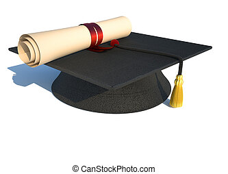 Graduation cap and diploma isolated on white - rendered in ...