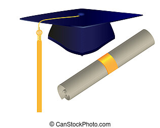 Graduation Cap and Diploma - Raster illustration of ...
