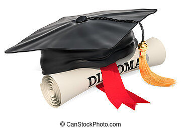 Graduation cap and diploma scroll, 3D rendering