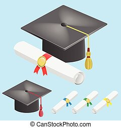 Graduation cap and diploma scroll
