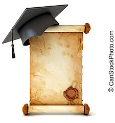 Graduation cap and diploma. Unfurled an ancient scroll with wax seal. Conceptual illustration. Isolated on white background. 3d render