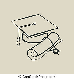 Graduation cap and diploma - vector illustration