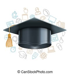 Graduation Cap and Education Symbols