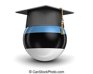 Graduation cap and Estonian flag. Image with clipping path