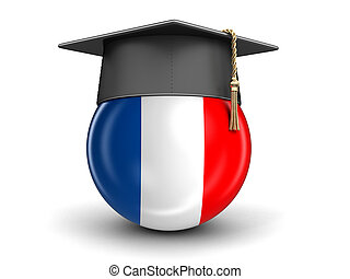 Graduation cap and French flag. Image with clipping path