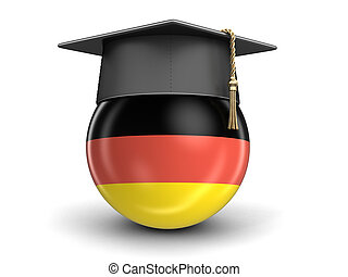 Graduation cap and German flag. Image with clipping path