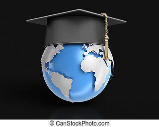 Graduation cap and Globe. Image with clipping path