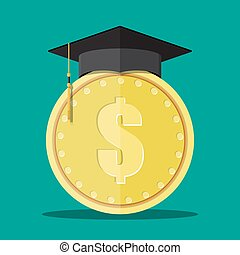 Graduation cap and gold coin