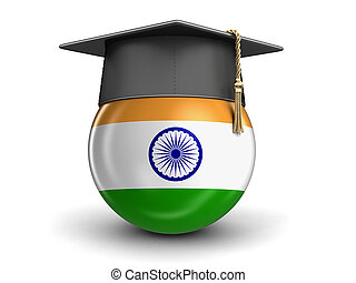 Graduation cap and Indian flag. Image with clipping path