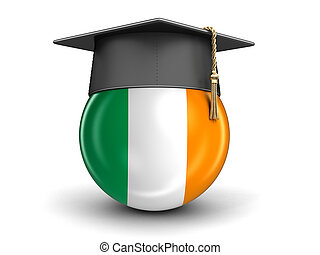 Graduation cap and Irish flag. Image with clipping path