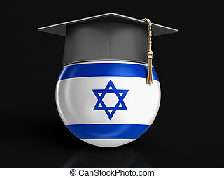 Graduation cap and Israeli flag. Image with clipping path