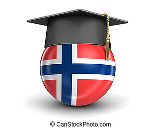 Graduation cap and Norwegian flag. Image with clipping path