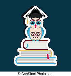 Graduation cap and owl - Colorful vector owl with graduation...