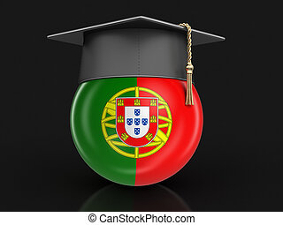 Graduation cap and Portuguese flag. Image with clipping path