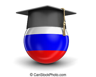 Graduation cap and Russian flag. Image with clipping path