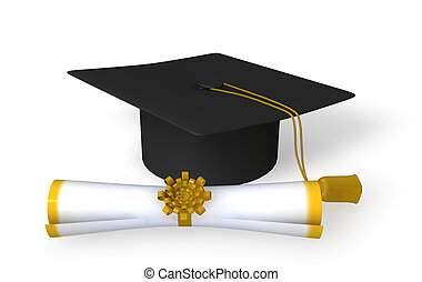 graduation cap and scroll on white background