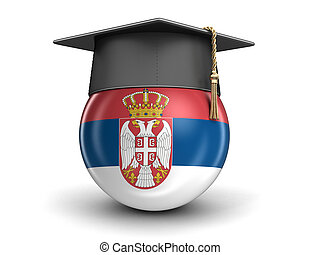 Graduation cap and Serbian flag. Image with clipping path