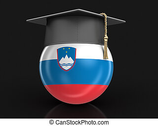Graduation cap and Slovene flag. Image with clipping path