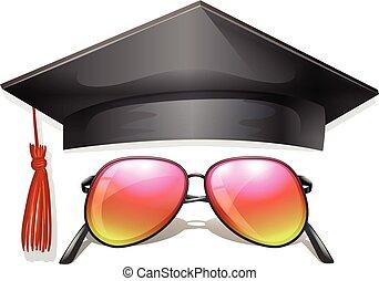 Graduation cap and sunglasses