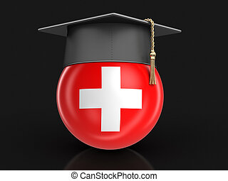 Graduation cap and Swiss flag. Image with clipping path