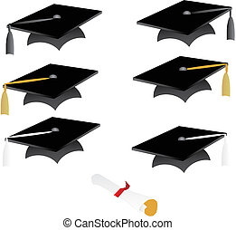 black graduation cap with coloured tassels and diplomas